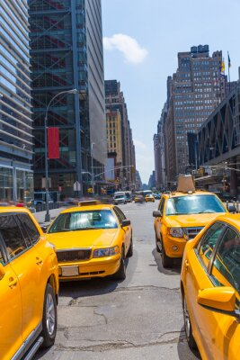 Fototapeta Times Square New York yellow cab daylight