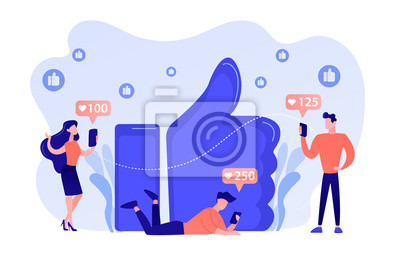 Fototapeta Tiny business people with smartphones and tablet get like notifications. Likes addiction, thumbs-up dependence, social media madness concept. Pinkish coral bluevector isolated illustration