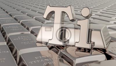 Fototapeta Titanium ingots background with Ti symbol. 3D rendering