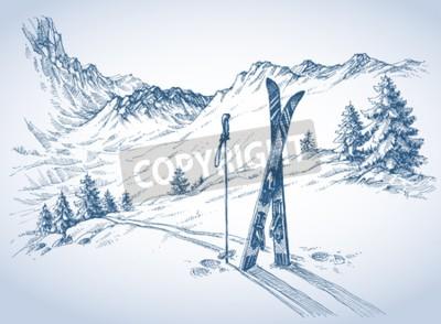 Fototapeta tła narty, góry w sezonie zimowym