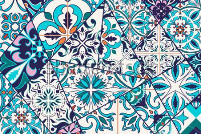 Fototapeta Tło dekoracyjne. Mozaiki patchwork wzór dla procedury i mody. Płytki portugalskie, Azulejo, marokańskie ozdoby