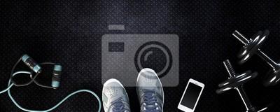 Fototapeta tło fitness z hantlami i smartphone. Widok z góry