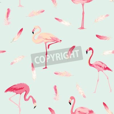 Fototapeta Tło Flamingo Bird. Tło Flamingo Feather. Retro Bez szwu Deseń. Tekstury Vector.