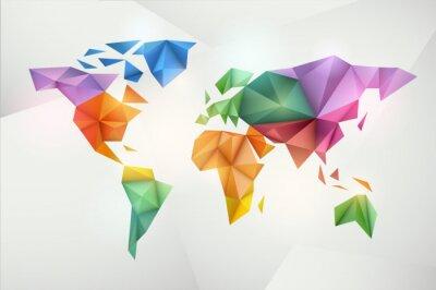 Tło mapa świata w stylu origami.