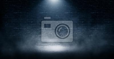 Fototapeta Tło pusty ściana z cegieł, betonowa podłoga, światło neonowe, przypala