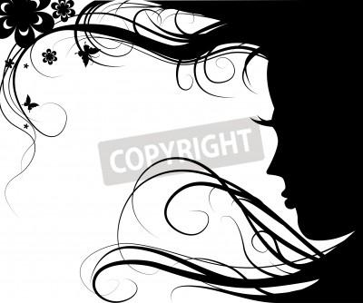 Fototapeta Tło z sylwetka pięknej dziewczyny z pięknych kwiatów i motyli