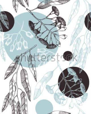Fototapeta Tło z użyciem użytych rysunków eukaliptusa. Tasmanyjska błękitna dziąsło z liśćmi, kwiatami, szkłami jagód. Ślubna botaniczna ilustracja. Vintage drzewo wzór.