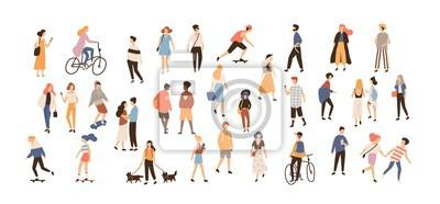Fototapeta Tłum ludzi wykonujących letnie zajęcia na świeżym powietrzu - spacery z psami, jazda rowerem, jazda na deskorolce. Grupa męscy i żeńscy płascy postać z kreskówki odizolowywający na białym tle. Ilustra