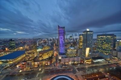 Fototapeta To jest widok na centrum Warszawy. 02 lutego, 2016 Warszawa, Polska.