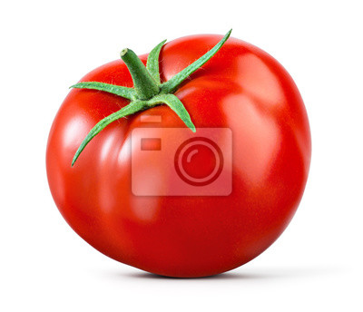 Fototapeta Tomato isolated. Tomato on white. With clipping path. Full depth of field.