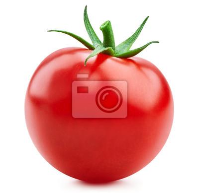 Fototapeta Tomato vegetables isolated on white. Fresh tomato fruit Clipping Path. Tomato macro photo