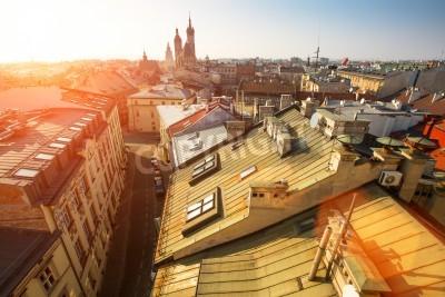 Fototapeta Top view of the historical centre of Krakow, Poland.