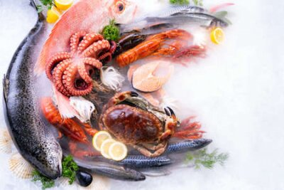 Fototapeta Top view of variety of fresh luxury seafood, Lobster salmon stone crab mackerel crayfish prawn octopus mussel and scallop, on ice background with icy smoke in seafood market. Photo With Copy space.