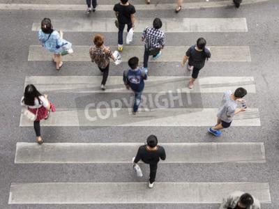top view scene pedestrian crowded crossing on zebra way
