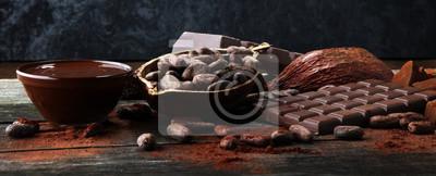 Topienie czekolady lub roztopionej czekolady i wirowania czekolady.