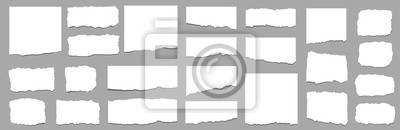 Fototapeta Torn sheets of paper. Torn paper strips set. Vector
