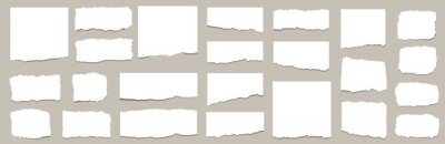 Fototapeta Torn sheets of paper. Torn paper strips set. Vector illustration