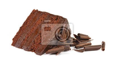 Fototapeta Tort czekoladowy kawałek z dyni na białym tle