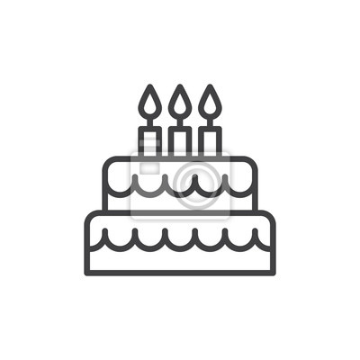 Fototapeta Tort urodzinowy linii ikony, kontur wektor podpisania, piktogram styl liniowy wyizolowanych na bia? Ym tle. Symbol, ilustracja logo. Editable stroke. Pixel doskonały