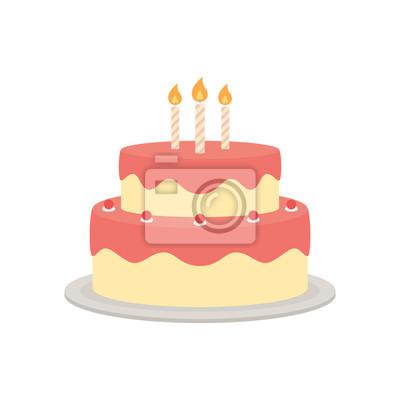 Fototapeta Tort urodzinowy wektor pojedyncze ilustracji