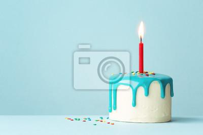Fototapeta Tort urodzinowy z jedną czerwoną świecą