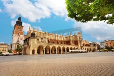 Fototapeta Town Hall Tower (Wieza ratuszowa w Krakowie) and Cloth Hall on  Rynek Glowny (main square) in Krakow, Poland
