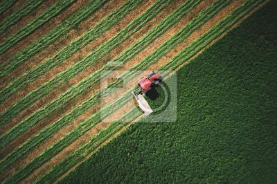 Fototapeta Tractor mowing green field