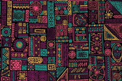 Fototapeta Traditional african vector seamless pattern design