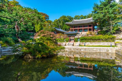 Fototapeta Traditional building at Buyongji Pond inside secret garden of Changdeokgung palace in Seoul, Republic of Korea