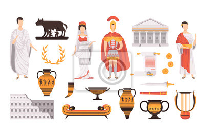 Fototapeta Traditional cultural symbols of ancient Rome set vector Illustrations on a white background