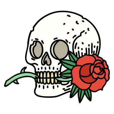 Fototapeta traditional tattoo of a skull and rose