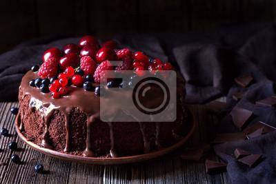 Fototapeta Tradycyjne domowe ciasto czekoladowe słodkie ciasta i desery z