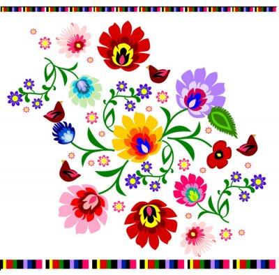 Fototapeta Tradycyjny polski folk wektor kwiatowy wzór