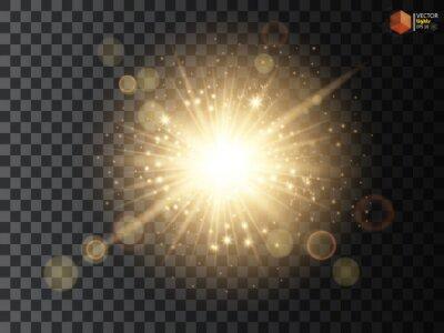 Fototapeta Transparent Golden Glow efekt świetlny. Star burst z błyskotki