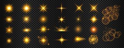 Fototapeta transparent golden light flare and sparkles mega set