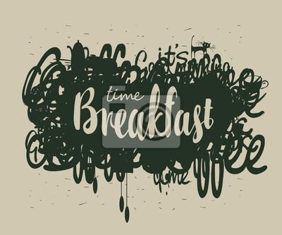 Transparent wektor dla kawiarni z napisami Śniadanie na abstrakcyjnym tle z doodle czajnik, kot, filiżanka, bazgroły i bazgroły w stylu retro
