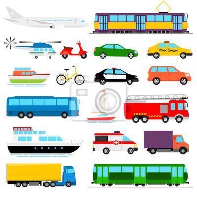 Fototapeta Transport miejski kolorowych ilustracji wektorowych. transport miejski