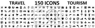 Fototapeta Travel and tourism set 150 icons, vocation signs for web development apps, websites, infographics, design elements – stock vector