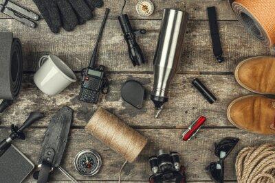 Fototapeta travel hiking equipment tools, view from above