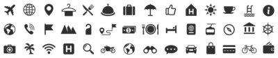 Fototapeta Travel icons set. Tourism simple icon collection. Vector
