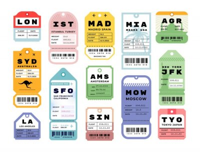 Fototapeta Travel stickers. Airport vintage luggage labels. Retro baggage tags. Colorful flight cardboard badges with barcodes. Airline coupons from various cities. Vector airplane tickets set