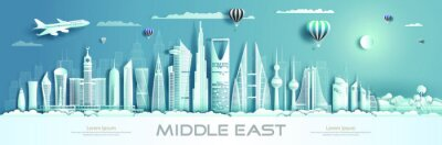 Fototapeta Travel to middle east landmarks of asia with modern architecture.