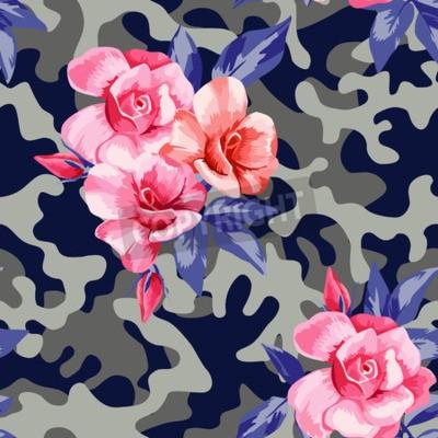 Fototapeta Trendy Camo wojskowych miejskich wzorek bez szwu z pięknym kwiatem różowa róża.