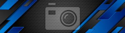 Fototapeta Trendy composition of blue technical shapes on black background. Dark metallic perforated texture design. Technology illustration. Vector header banner