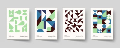 Fototapeta Trendy covers design. Minimal geometric shapes compositions. Applicable for brochures, posters, covers and banners.