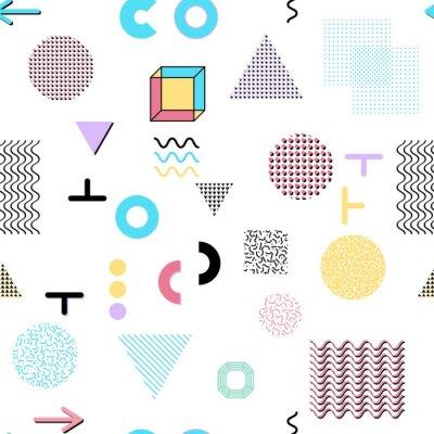 Fototapeta Trendy elementy geometryczne karty Memphis, szwu. Styl retro tekstury. Nowoczesne abstrakcyjne projekt plakatu, okładka, projekt karty