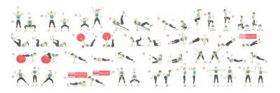 Fototapeta Trening dziewczyny set. Kobieta robi ćwiczenia fitness i jogi. Rzuca i przysiady, deski i ABC. Pełny trening ciała.