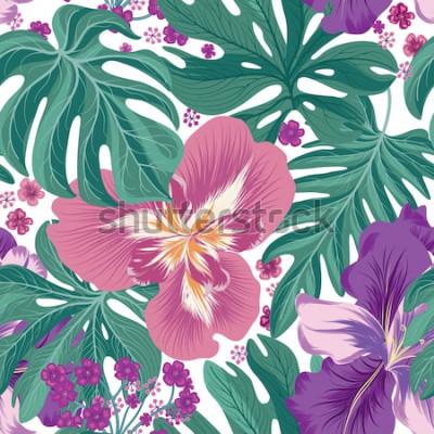 Fototapeta Tropcal kwiaty i liście palmowe wzór. Piękne tło kwiatowy. Tapeta lato natura.