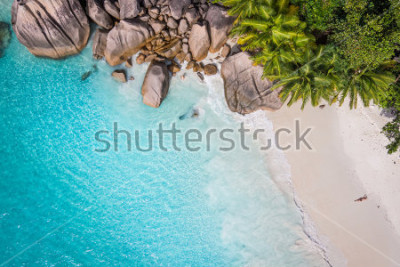 Fototapeta Tropical beach with sea and palm taken from drone. Seychelles famous shark beach - aerial photo
