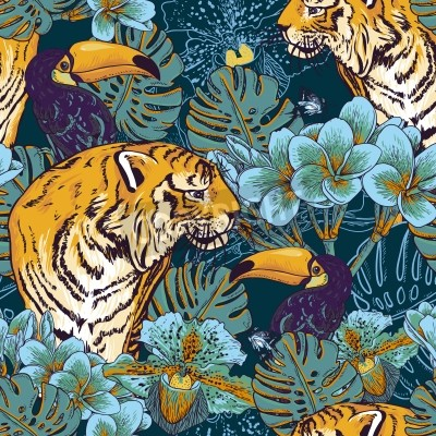Fototapeta Tropical bezszwowe tło z egzotycznych kwiatów i Tukan i Tiger